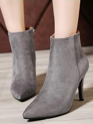 Sexy Solid Grey Sexy Point Toe Slim Heel Women Suede Boots