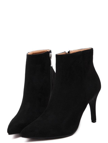 Sexy Solid Black Sexy Point Toe Slim Heel Women Suede Boots