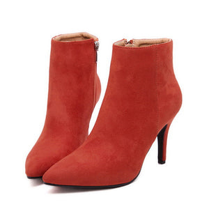 Sexy Solid Orange Sexy Point Toe Slim Heel Women Suede Boots