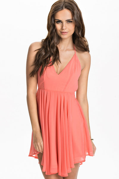 Sexy T Back Layered Chic Pink Women Dress