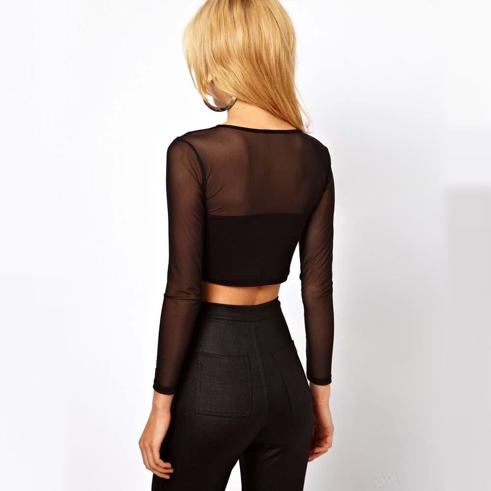 Women O-Neck Short Sleeve Cut Out See Though Mesh Patchwork Crop Top+Pants