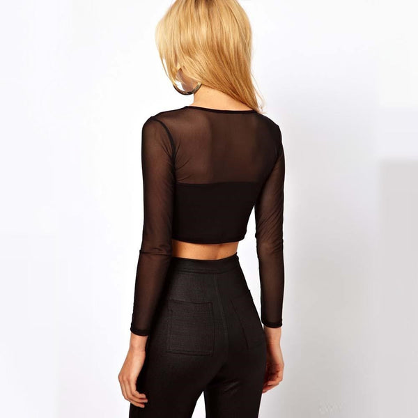 Sexy Women O-Neck Long Sleeve Crop Top Mesh Cutout Short Blouse