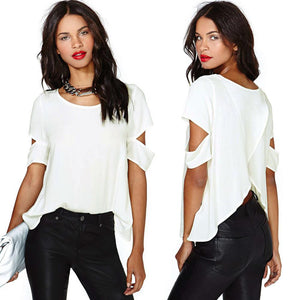Sexy Wrap Back Cutout top Short Sleeves Crew Neck Casual Chiffon Blouse