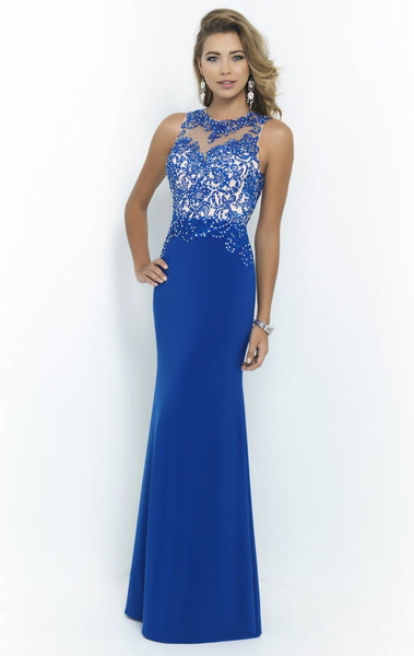 Beads Appliqué Crew Sheer Neck HerFashion Floor Length Prom Dress