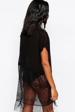 Sheer Fringed Black Beach Kimono-Swimwear Cover Up
