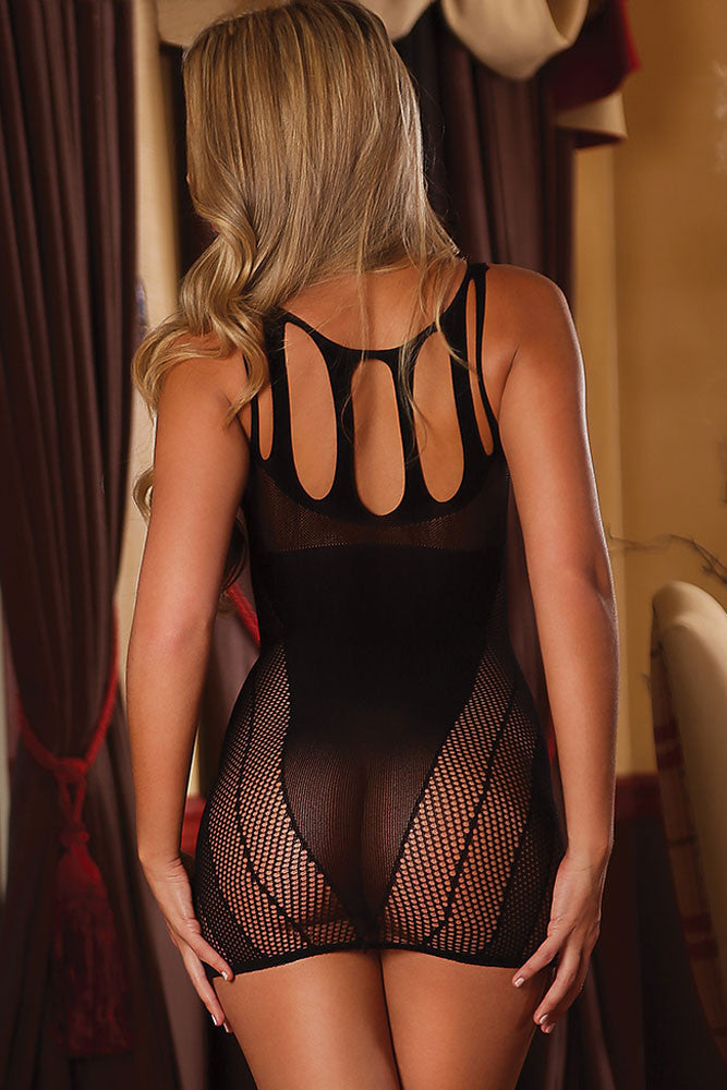 Sheer Mesh Cutout Lingerie Dress