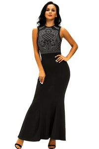 Shimmering Rhinestone Exquisite  Black Floor-Length Gown