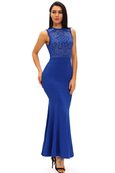 Shimmering Rhinestone Exquisite  Blue Floor-Length Gown