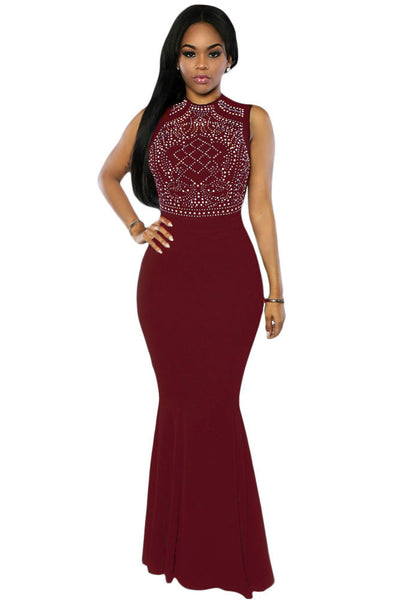 Shimmering Rhinestone Exquisite  Burgundy Floor-Length Gown