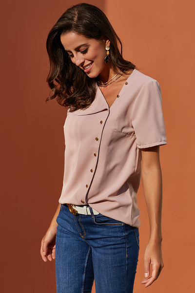 Short Sleeve Chic Button Design Her Fashion Pink Loose Chiffon Blouse