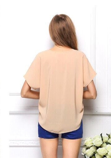 Short Sleeve Chiffon Modern T-Shirt with Pocket Women Blouse