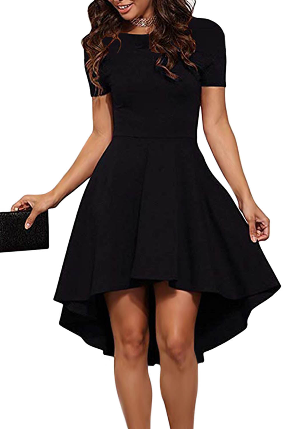Short Sleeve Her Fashion Gorgeous Black High Low Slim Fit Skater Dress