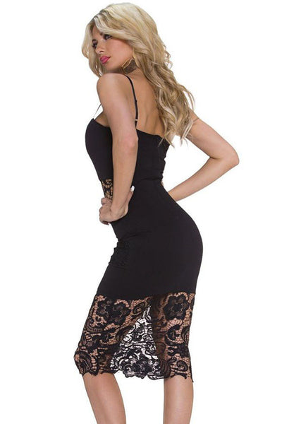 Signature Black Lace Insert Notched Slip Dress