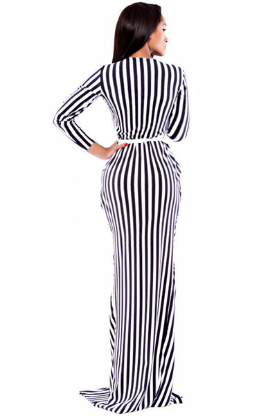 Signature Chic Stripe Long-sleeve Wrap Maxi Dress