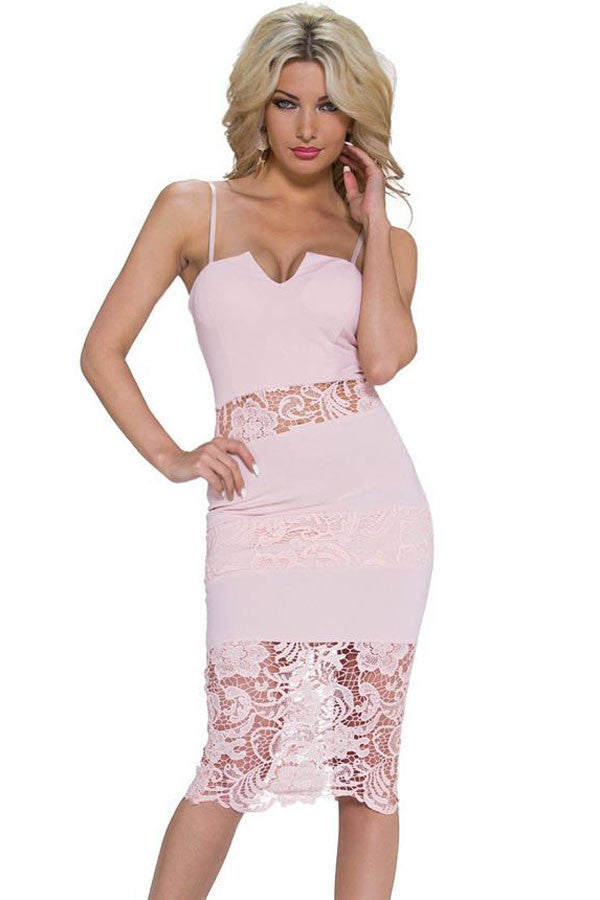 Signature Pink Lace Insert Notched Slip Dress