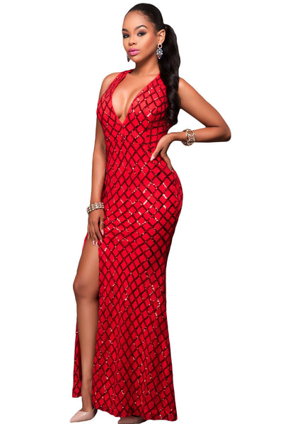 Her Signature Princess Series Green/Red Gold Diamond Sequins Slit Gown