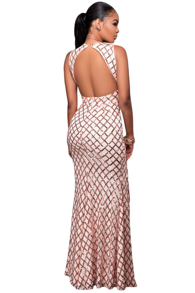 Her Signature Princess Series Pink Gold Diamond Sequins Slit Gown