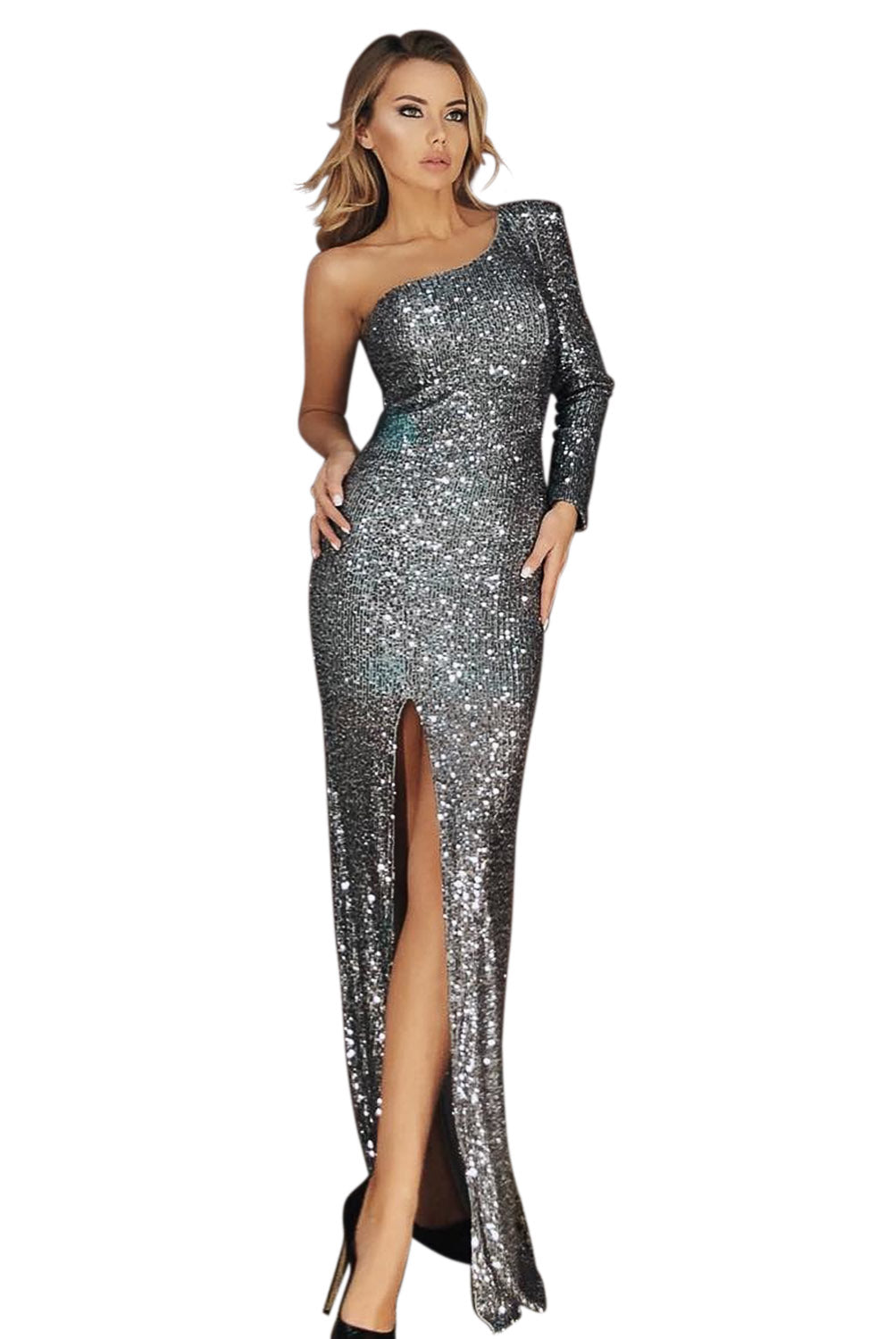 One Shoulder Her Fashion Front Slit Shimmering Silver Sequin Gown