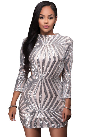 Silver Sequin Detail Open Back Party Her Fashion Mini Dress