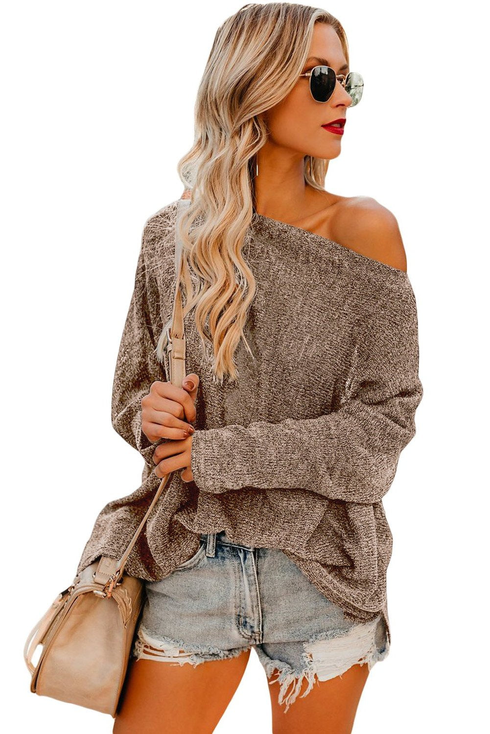 Simple Styling Her Fashion Brown Drop Shoulder Lightweight Knitwear