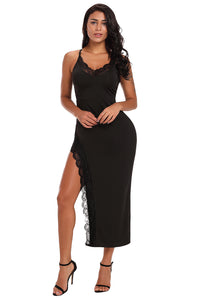 Simple Trendy Design Her Fashion Black Side Slit Lace Trim Party Dress