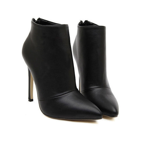 Simple Trendy Design PU Spike-Heel Back Zipper Ankle Boot - Black