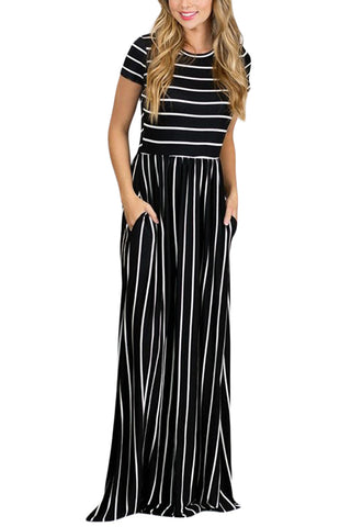 Simple Trendy White Striped Black Her Fashion Short Sleeve Maxi Dress