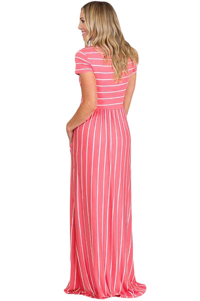 Simple Trendy Black Striped White Her Fashion Short Sleeve Maxi Dress
