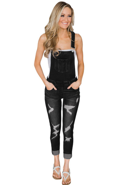 Skinny Fit Black Wash Distressed Her Fashion Jeans Overalls