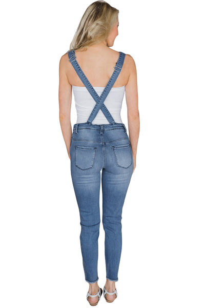 Skinny Fit Light Blue Wash Distressed Her Fashion Jeans Overalls