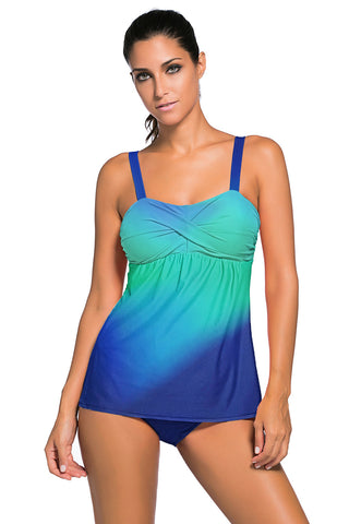 Blue Gradient Color Swimwear HerFashion Tummy Control Tankini