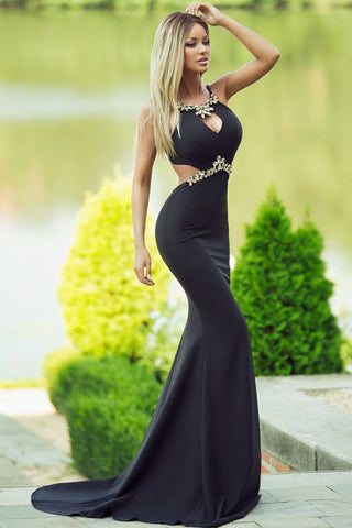 Sleek Embellished Dazzling Mermaid Black Stunning Dress