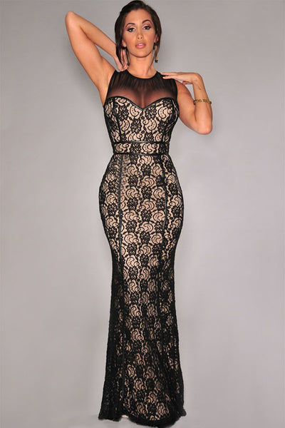 Sleekly Laced Nude Illusion Mesh Accent Black Lace Trendy Women Dress
