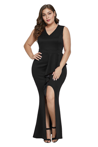 Sleeveless BIG'n'TRENDY Black Plus Size Ruffle Deep V Neckline Dress