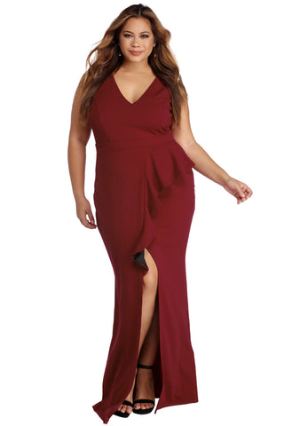 Sleeveless BIG'n'TRENDY Red Plus Size Ruffle Deep V Neckline Dress