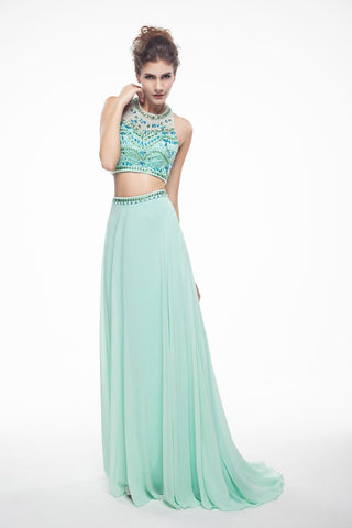 Sleeveless Beads Vintage Halter Backless Design Two Pieces Prom Dress