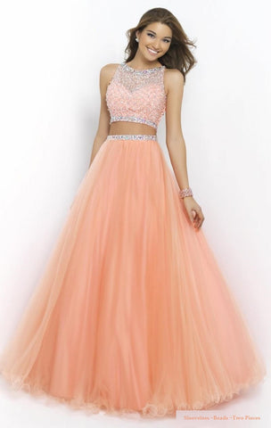 Sleeveless Beads Vintage Scoop Hollow Back Design Two Pieces Prom Dress