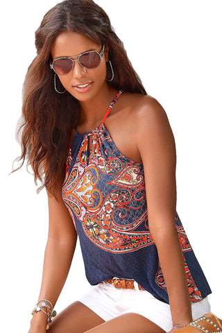 Sleeveless Blue Coral Bohemian Print HerFashion Keyhole Front Tank Top