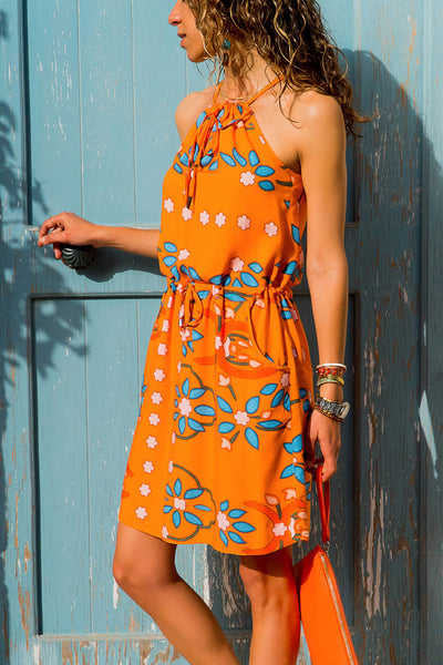 Sleeveless Boho Print Her Fashion Orange Tank Tunic Dress