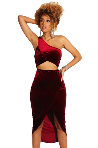 Sleeveless Burgundy Her Fashion Greek-style One Shoulder Velvet Dress