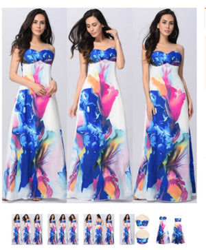 Sleeveless Floral Print Trendy Women's Maxi Dress