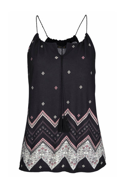 Sleeveless Her Fashion Black Bohemian Print Spaghetti Strap Vest Top
