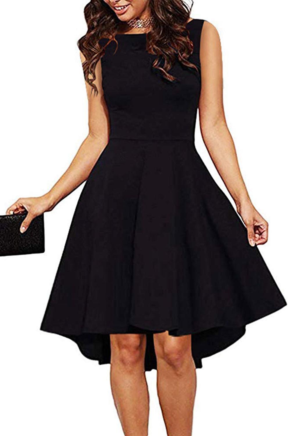 Sleeveless Her Fashion Black Gorgeous High Low Slim Fit Skater Dress