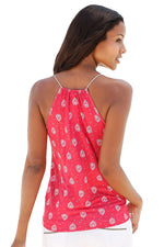 Sleeveless Her Fashion Red Flowery Print Spaghetti Strap Vest Top