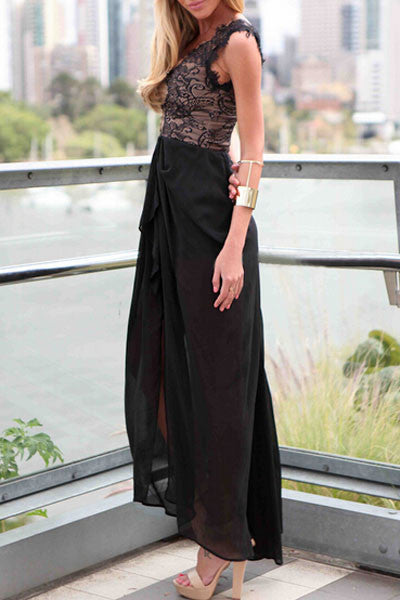 Sleeveless Maxi Charming Women Dress in Black