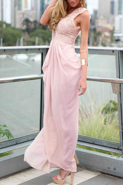Sleeveless Maxi Charming Women Dress in Pink