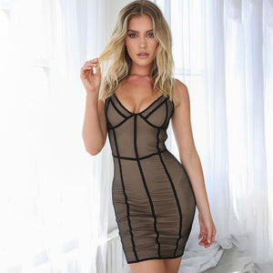Sleeveless Mesh Sheer Sexy Bandage White Lace Chic Bodycon Party Dress