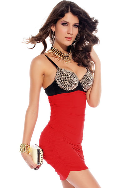 Sexy Sleeveless Punk Rivets Bra Top Bodycon Mini Dress (2015)