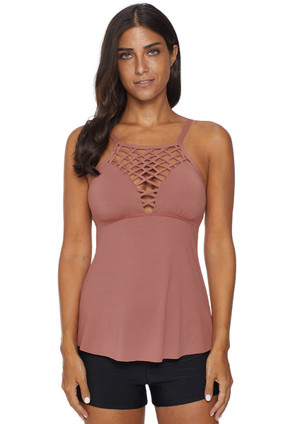 Sleeveless Summer Her Fashion Pink Netted Hollow-out Tankini Top