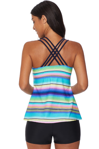 Sleeveless Tank Top Her Fashion Sky Blue Multicolor Tankini Swimwear